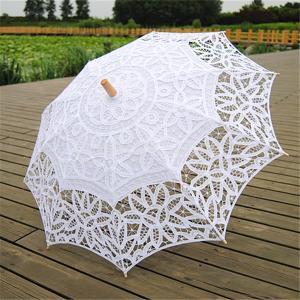 日傘 長傘 ファッション 傘 ハンドメイド コットン レース パラソルの傘 花嫁傘 結婚式 パーティー 白 2仕様選べ - #2|stk-shop