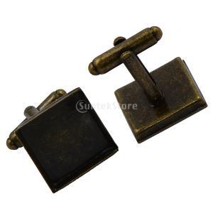 6本 正方形 ブランク ベースパッド カフリンクス DIY 正式 カフスボタンカフスボタン ギフト青銅|stk-shop