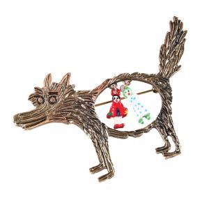 ノーブランド品 ファンキーな 赤ずきん オオカミのテーマ パーティーのブローチピン