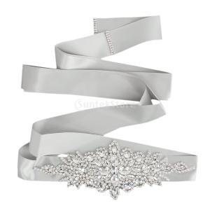 Perfk ブライダル ウェディング ドレスベルト サッシ クリスタル ラインストーン 輝き リボン ネクタイ グレー 結婚式