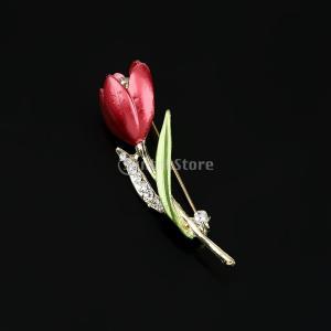 ノーブランド品 チューリップの花 クリスタル ラインストーン ブローチピン  宝石類のギフト|stk-shop