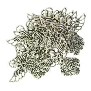 フィリグリー 中空 ノックス 天使の羽 ペンダント チャーム DIY ジュエリー作り 10個|stk-shop