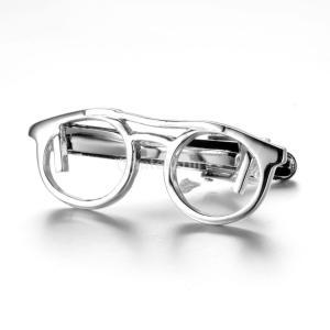 ノーブランド品 ノベルティ メタル メガネデザイン シルバー ネクタイ ネクタイバー クラスプ クリップピン|stk-shop