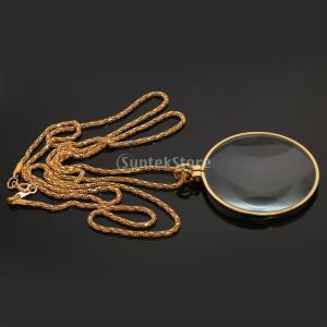 説明: ゴールデンストラップチェーンネックレス金属lanyards拡大鏡ペンダントルーペ装飾的な単眼...