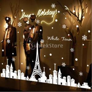 説明:クリスマス白い町のウィンドウ装飾、スノーフレークしがみついては、自己粘着性PVCから作られてい...