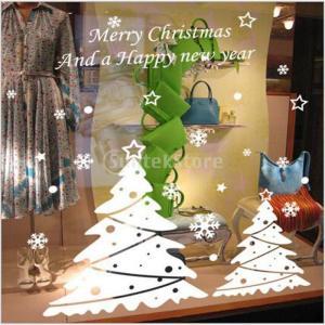 説明:ホワイトクリスマスツリーウィンドウの装飾、クリスマスツリーしがみついているが、透明自己しがみつ...