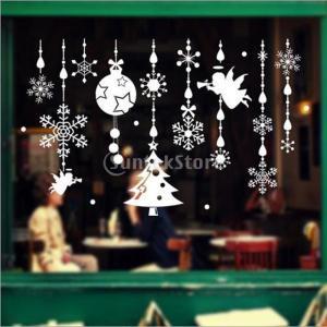 説明:クリスマスツリージングルベルエンジェルウィンドウの装飾は、スノーフレークしがみついては、自己粘...