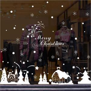 説明:クリスマスホワイトハウスウィンドウ/壁の装飾、スノーフレークしがみついては、自己粘着性PVCか...