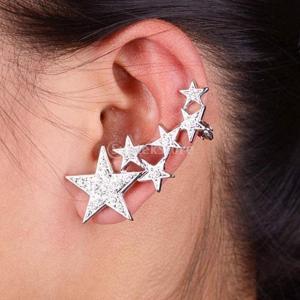 銀色 光沢のある クリスタル 女性 右耳のクリップ クランプ イヤリング耳のカフ|stk-shop