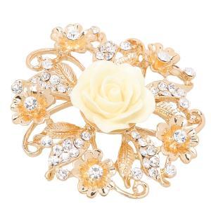 ブローチピン 結婚式 ブライダル ヴィンテージ 合金 水晶 素晴らしい 全7色 - 白