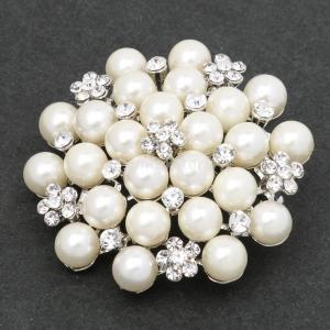 ノーブランド品 結婚式 ブライダル ヴィンテージ 合金 水晶 真珠の花 ブーケブローチピン ギフト