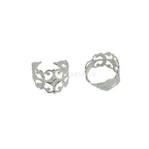銀白 手作り 調節可能な 真鍮 ブランク リング ジュエリー 10個|stk-shop