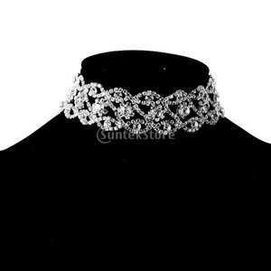 Lovoski 全2色 おしゃれ ラインストーン チョーカー ネックレス 結婚式 披露宴  - シルバー|stk-shop