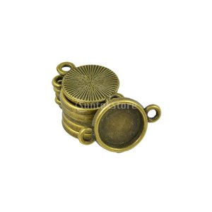 約50個 DIY カボション ブランク ベゼル設定ベース ジュエリー ペンダント コネクタ チャーム 全2サイズ - 10ミリメートル|stk-shop