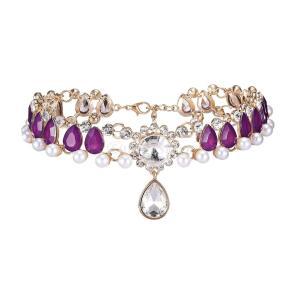 ノーブランド品 全7種類 ネックレス 女性 チョーカー ペンダント 結婚式 高級 - 紫