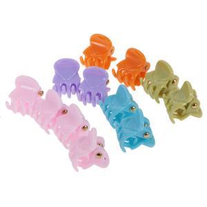 全5種類 樹脂製 ヘアグリップ レディー ガール ミニ クランプ クリップ 美しい 12個入り - タイプ4|stk-shop