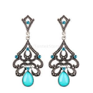 ピアス 女性 パーティ フラワー ダングル ビンテージ 人工宝石 クリスタル アンティークシルバー+ブルー|stk-shop