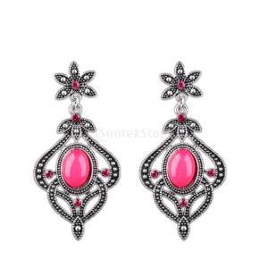 ピアス 女性 ビンテージ フラワー ダングル 贈り物 人工宝石|stk-shop