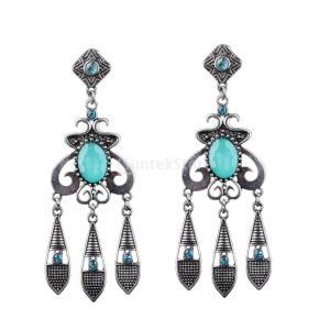 ピアス 女性 ビンテージ 人工宝石 クリスタル タッセル ダングル アンティークシルバー+ブルー|stk-shop