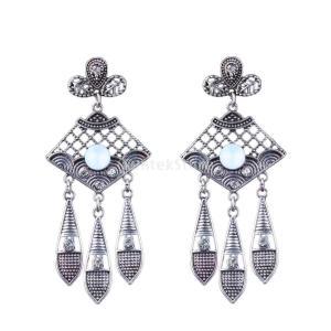 ピアス 女性 装飾 ビンテージ 人工宝石 アンティークシルバー クリスタル タッセル|stk-shop