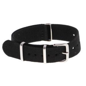 Dovewill ナイロン製 腕時計バンド 腕時計ストラップ 交換用 ステンレス製 バックル 全10種類 - ブラック20mm