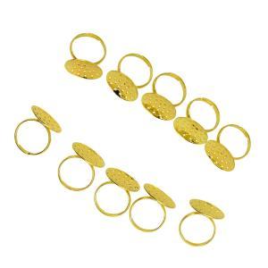 10個入り リング 真ちゅう製 素晴らしい DIY ブランク 調節可能 全2色 - ゴールド|stk-shop