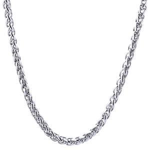 レディース メンズ ステンレススチール ツイストチェーン チョーカー ネックレス 全4サイズ - 3x600mm|stk-shop