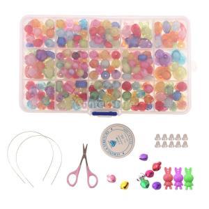 ビーズ 可愛い 子供向け 創造的 鮮やかな色 実用 手作り用 手芸材料 収納ボックス付き 全3種類選べ  - 350ピース, 10x17x2cm|stk-shop