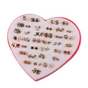お買い得 可愛い 女性 ファッション スタッド ピアス 贈り物 ハートボックス付き 36ペア 全5色 - #1|stk-shop