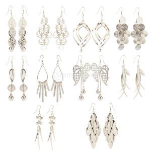 10ペア ファッション ロングピアス フックピアス 金属アレルギー対応 レディース ファッション ジュエリー|stk-shop