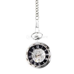 ビンテージ 男性 女性 機械的 スケルトン 手巻き 懐中時計 チェーン 無蓋設計