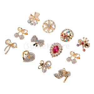 女性の金属合金クリスタルブローチラペルピンの襟の先端の宝石類12個の金
