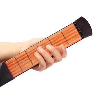 木製 ギター 初心者 練習用 ポケットギター コンパクト L型レンチ付 実用 全2サイズ - 6フレ...