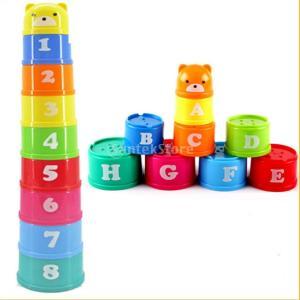 ノーブランド品 プラスチック製 スタッキングアップ  カップ  虹の色 子供  知育玩具 贈り物 stk-shop