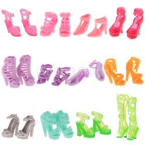 バービー人形ハイヒール靴ドール用素敵 PVC 製フラットシューズ盛り合わせスタイル12組