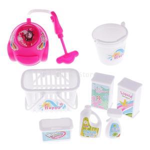 説明: ドールハウスクリーニングツールセット、優れた仕上がりと魅力人形掃除機、バスケット、バケツ、洗...