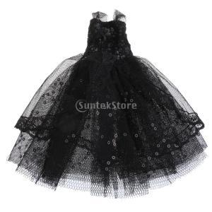 説明:  11インチのドールレイヤードレースドレス衣装のバービードールパーティーのイブニングドレスボ...