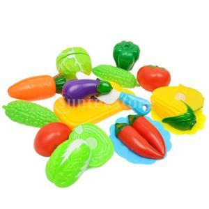 説明: 13個のプラスチック製の野菜子供子供キッチン食べ物のふり遊び教育玩具セット。最高の子供役割の...