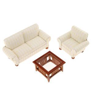 説明:ドールハウスミニチュア家具2人掛けソファー、シングルソファ、ティーテーブルセットよく設計され、...