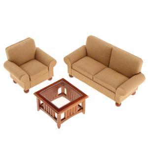 説明: ドールハウスミニチュア家具2人掛けソファー、シングルソファ、ティーテーブルセットよく設計され...