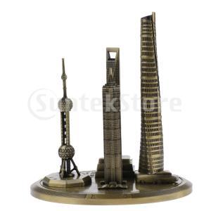 説明: ヴィンテージモデルメタル上海のランドマークビルブロンズ像(オリエンタルパールテレビ塔、上海塔...