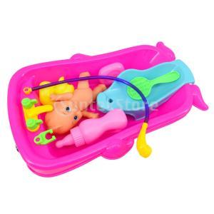 説明: 赤ちゃんの子供のための赤ちゃん人形水浴おもちゃで設定されたおかしいバスタブロールプレイングゲ...