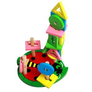 木製甲虫スタッキングジオメトリブロックパズルモンテッソーリ教育玩具ギフト