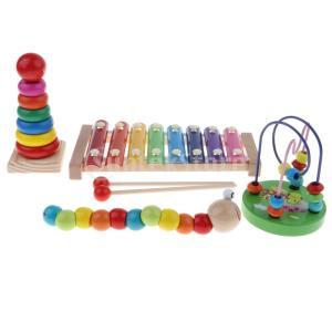 ビーズ迷路 木琴 ローラーコースターパズル 楽器おもちゃ 知育玩具 4個セット