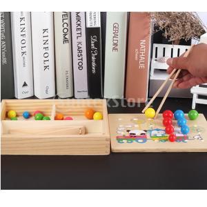 F Fityle 木製 子供 初期 教育玩具 ?色教育 手の訓練 クリップビーズゲーム