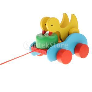引っ張るおもちゃ プルトイ 車おもちゃ お散歩おもちゃ 木製 教育玩具 知育玩具 2カラー - ダック