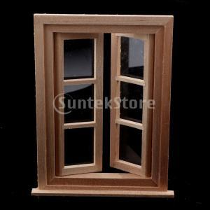 説明:  1/12ドールハウスのミニチュア窓、ドールハウスDIYのアクセサリーを作るための6枚の木製...