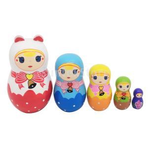 説明: 木は伝統的なマトリョーシカロシア人形、優れた技量と手作りの工芸品を作りました。 これら5人形...