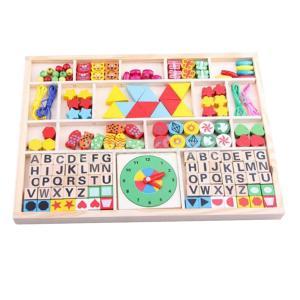 ひも通し アルファベット ブロック おもちゃ 木製パズル 積み木 知育玩具 教育玩具