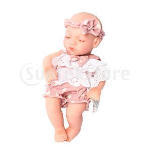 説明: ピンクのレースのトリム服を着て素敵な30センチの女の赤ちゃん人形、ヘアバンドセット。無毒手足...